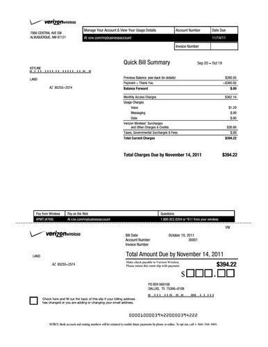 Cell phone bill example
